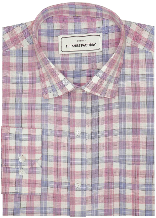 Men's Cotton Blend Check Shirt - Light Pink (0826) - Theshirtfactory