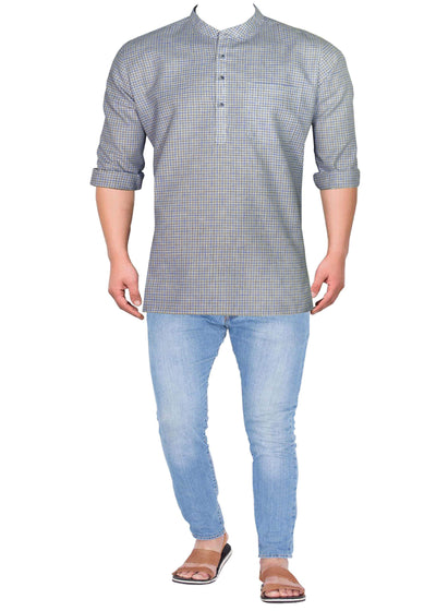 Men's Cotton Blend Check Short Kurta Full Sleeves/Half Sleeves - Blue Checks (KUR-780) - Theshirtfactory