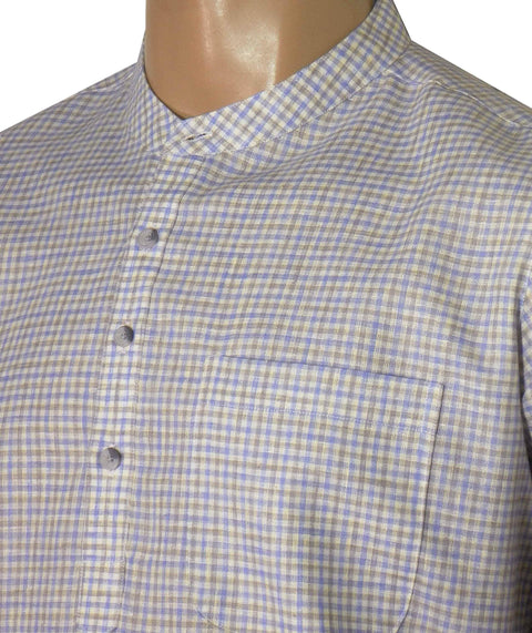 Men's Cotton Blend Check Short Kurta Full Sleeves/Half Sleeves - Blue Checks (KUR-780)