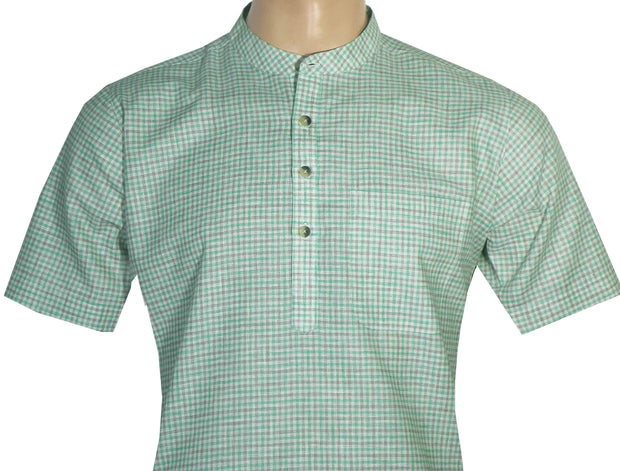 Men's Cotton Blend Check Short Kurta Full Sleeves/Half Sleeves - Green Checks (KUR-782)