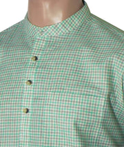 Men's Cotton Blend Check Short Kurta Full Sleeves/Half Sleeves - Green Checks (KUR-782) - TheshirtfactoryCheck Casual