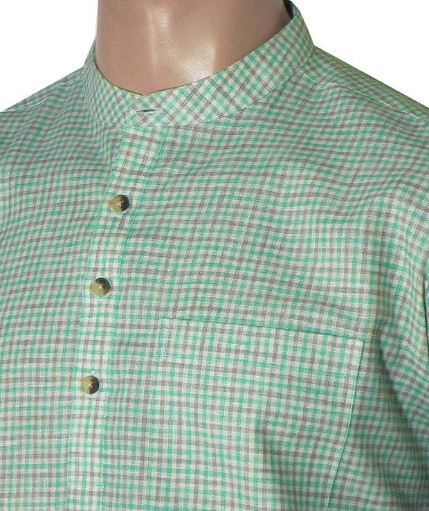 Men's Cotton Blend Check Short Kurta Full Sleeves/Half Sleeves - Green Checks (KUR-782) - Theshirtfactory