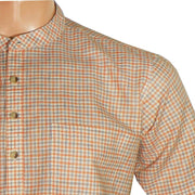 Men's Cotton Blend Check Short Kurta Full Sleeves/Half Sleeves - Orange Checks (KUR-781) - Theshirtfactory