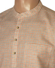 Men's Cotton Blend Check Short Kurta Full Sleeves/Half Sleeves - Orange Checks (KUR-781)