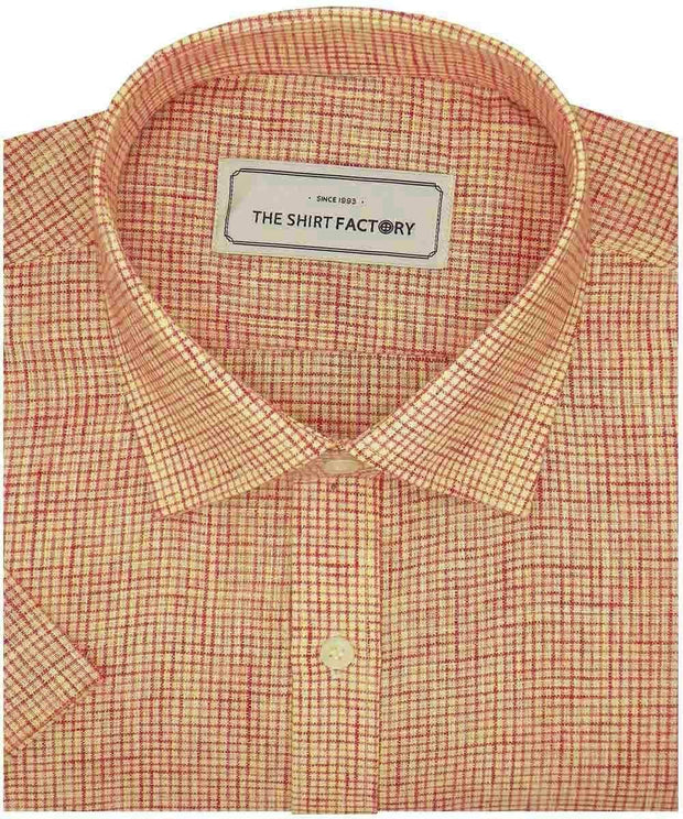 Men's Cotton Blend Micro Check Shirt - Orange (0783) - Theshirtfactory