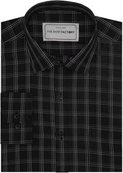 Men's Cotton Check Shirt - Black (0931) - Theshirtfactory