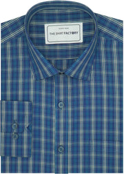 Men's Cotton Check Shirt - Blue (0629) - Theshirtfactory