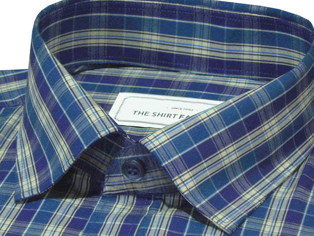 Men's Cotton Check Shirt - Blue (0632) - Theshirtfactory