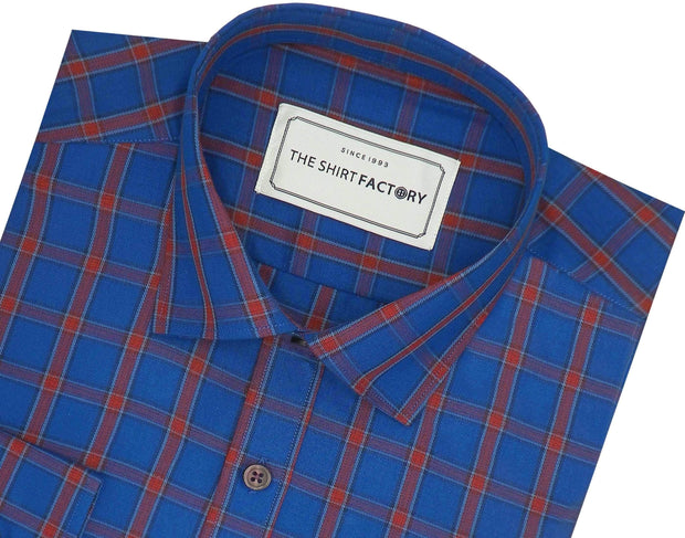 Men's Cotton Twill Check Shirt - Blue (0939)