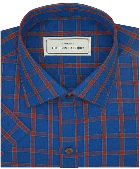Men's Cotton Twill Check Shirt - Blue (0939) - Theshirtfactory