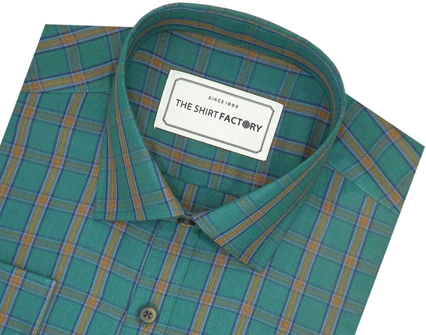Men's Cotton Twill Check Shirt - Green (0940)