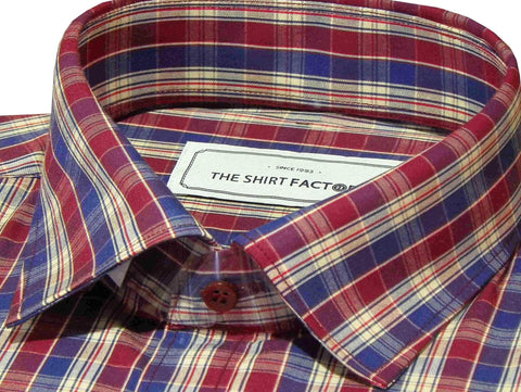Men's Cotton Check Shirt - Maroon (0631) - Theshirtfactory