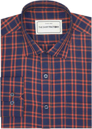Men's Cotton Twill Check Shirt - Orange Check (0942) - Theshirtfactory