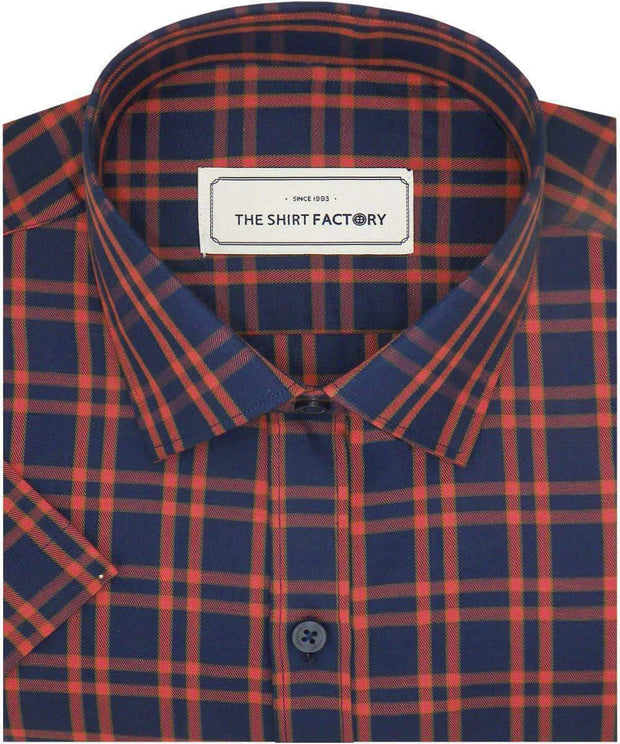 Men's Cotton Twill Check Shirt - Orange Check (0942)