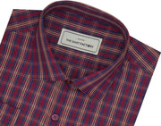Men's Cotton Check Shirt - Red (0630)