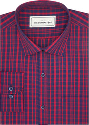 Men's Cotton Check Shirt - Red (0895) - Theshirtfactory