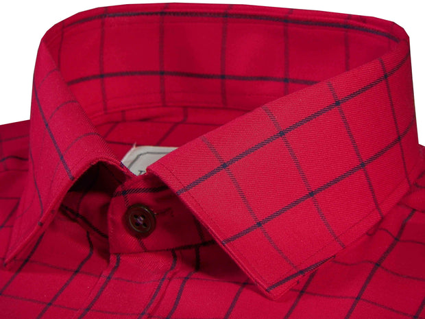 Men's Cotton Twill Check Shirt - Red (0929) - Theshirtfactory