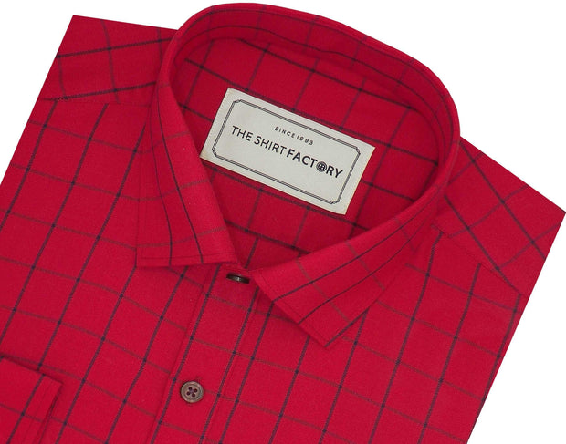 Men's Cotton Twill Check Shirt - Red (0929)