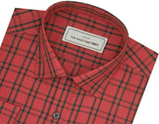 Men's Cotton Twill Check Shirt - Red (0941) - Theshirtfactory