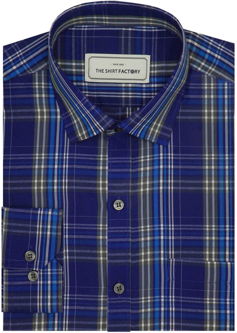 Men's Poly Cotton Check Shirt - Blue (0730) - Theshirtfactory