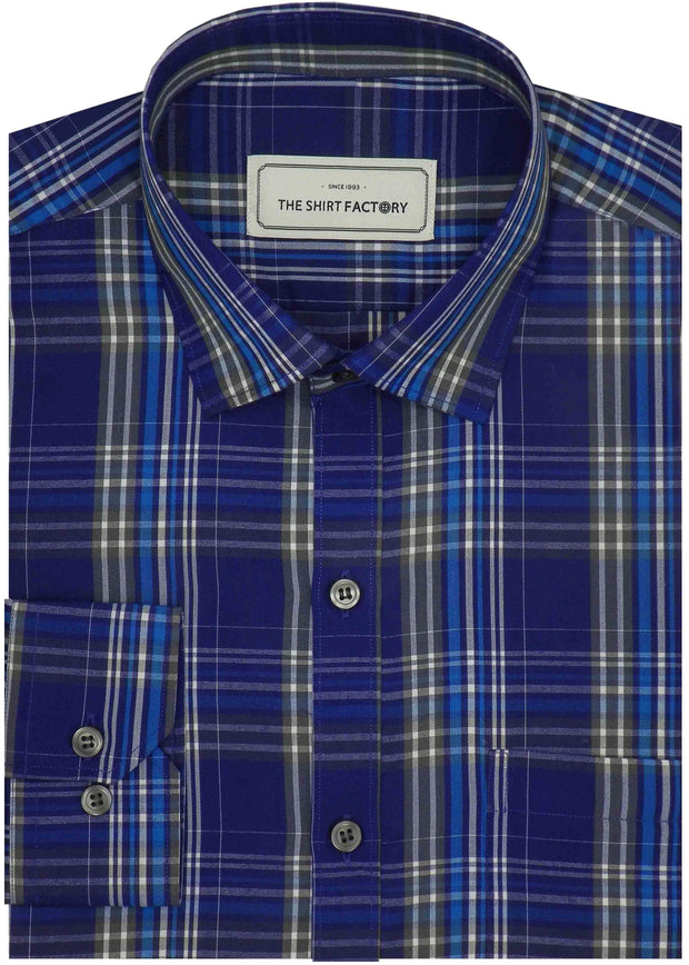 Men's Poly Cotton Check Shirt - Blue (0730)