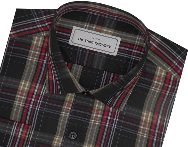 Men's Poly Cotton Check Shirt - Multicolor (0731) - TheshirtfactoryCheck Casual