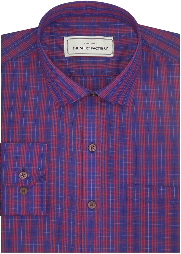 Men's Poly Cotton Check Shirt - Multicolor (0734)