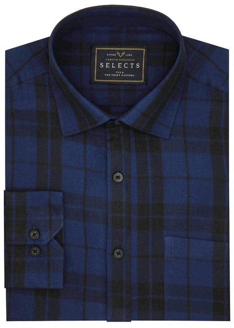 Selects Premium Cotton Twill Check Shirt - Blue (0394) - Theshirtfactory