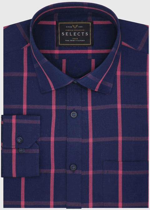 Selects Premium Cotton Check Shirt - Blue (0624) - Theshirtfactory