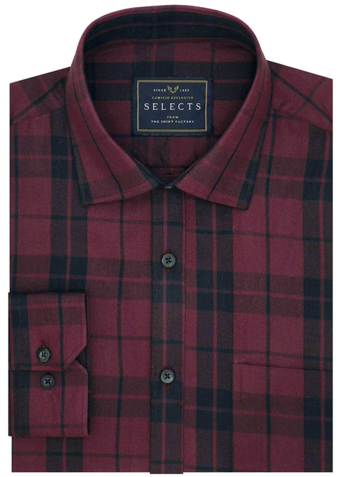 Selects Premium Cotton Check Shirt - Red (0395) - Theshirtfactory