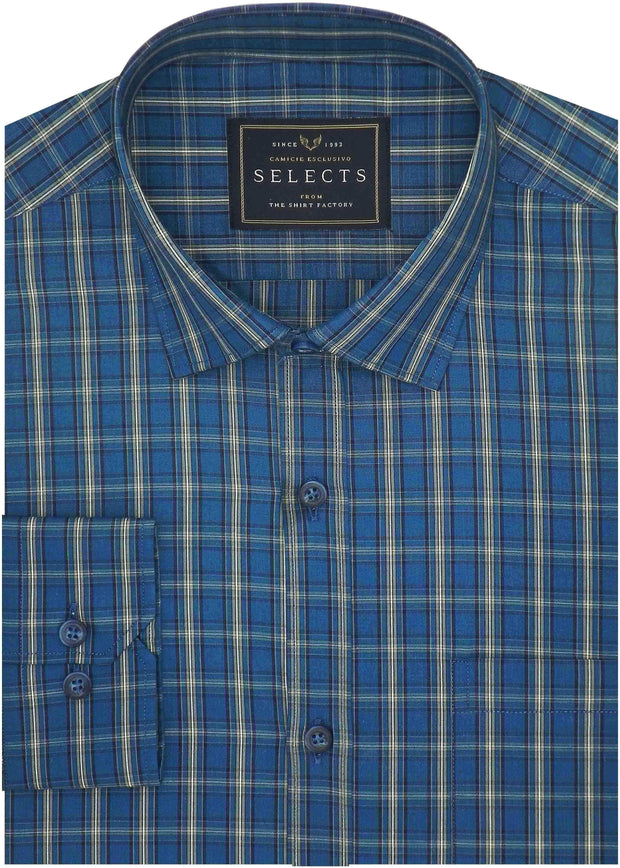 Selects Cotton Check Shirt - Blue (0633)