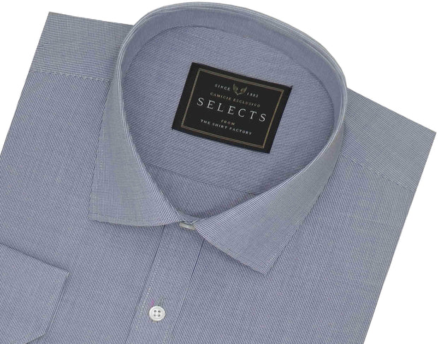 Selects Cotton Micro Check Shirt - Light Blue (0510) - Theshirtfactory