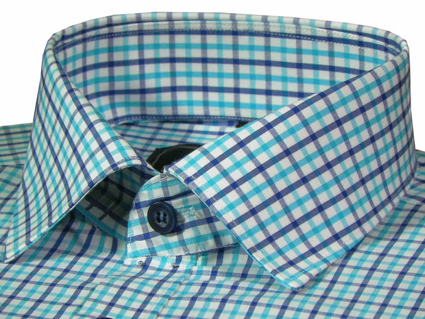 Selects Premium Cotton Check Shirt - Blue Check (1018) - Theshirtfactory
