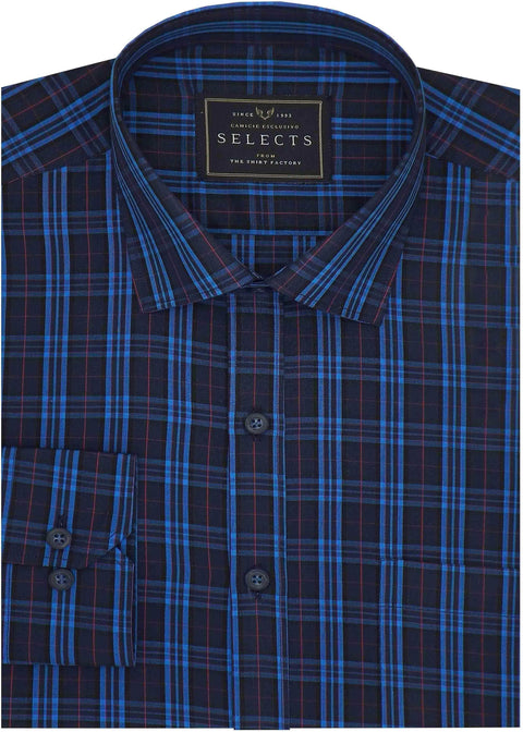 Selects Premium Cotton Check Shirt - Blue (0896) - Theshirtfactory