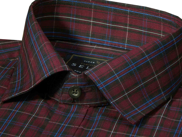 Selects Premium Cotton Check Shirt - Maroon (0715) - Theshirtfactory