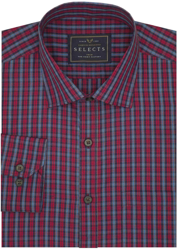 Selects Premium Cotton Check Full Half Sleeves Shirt - Red (0635) - Theshirtfactory
