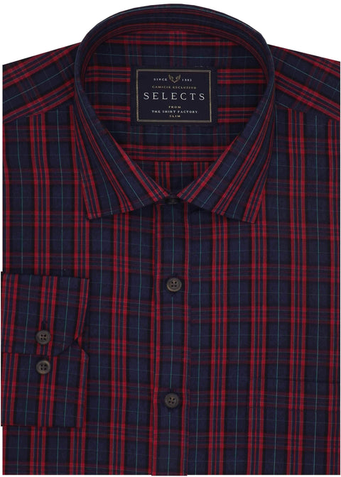 Selects Premium Cotton Check Shirt - Red (0897) - Theshirtfactory