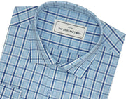 Men's 100% Cotton Check Shirt - Blue (0884) - Theshirtfactory