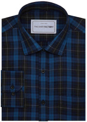 Men's 100% Cotton Melange Check Shirt - Blue (0668) - Theshirtfactory