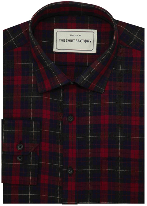 Men's 100% Cotton Melange Check Shirt - Red (0669) - Theshirtfactory