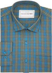 Men's Cotton Blend Check Shirt - Blue (0645) - Theshirtfactory