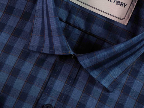 Men's Cotton Blend Check Shirt - Dark Yale Blue (0648) - Theshirtfactory