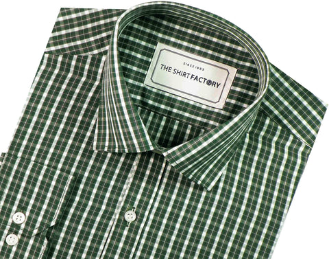 Men's Cotton Blend Check Shirt - Green (0644)