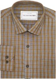 Men's Cotton Blend Check Shirt - Grey (0661) - Theshirtfactory