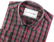 Men's Cotton Blend Check Shirt - Maroon (0652) - Theshirtfactory