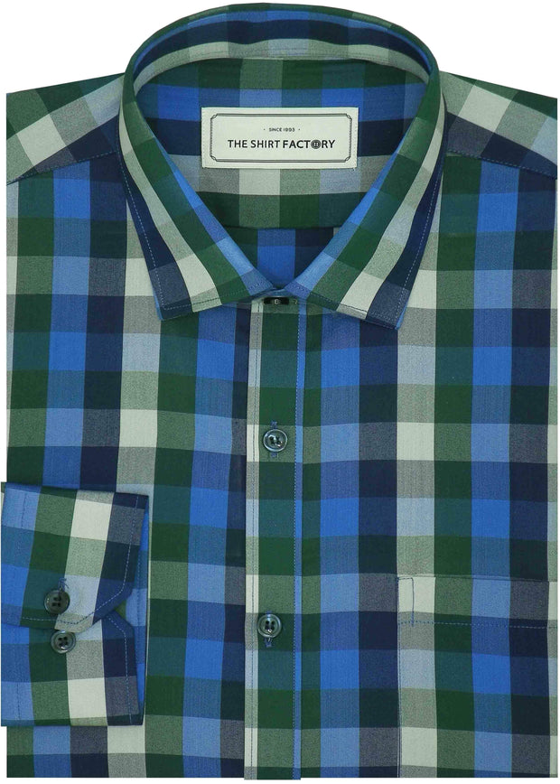 Men's Cotton Blend Check Shirt - Multicolor (0732)