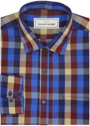 Men's Cotton Blend Check Shirt - Multicolor (0733)