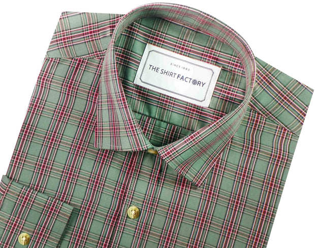 Men's Cotton Blend Check Shirt - Olive Green (0647) - Theshirtfactory