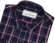 Men's Cotton Blend Check Shirt - Oxford Blue (0728) - Theshirtfactory