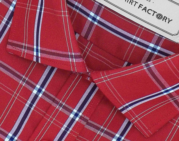 Men's Cotton Blend Check Shirt - Red (0729) - Theshirtfactory